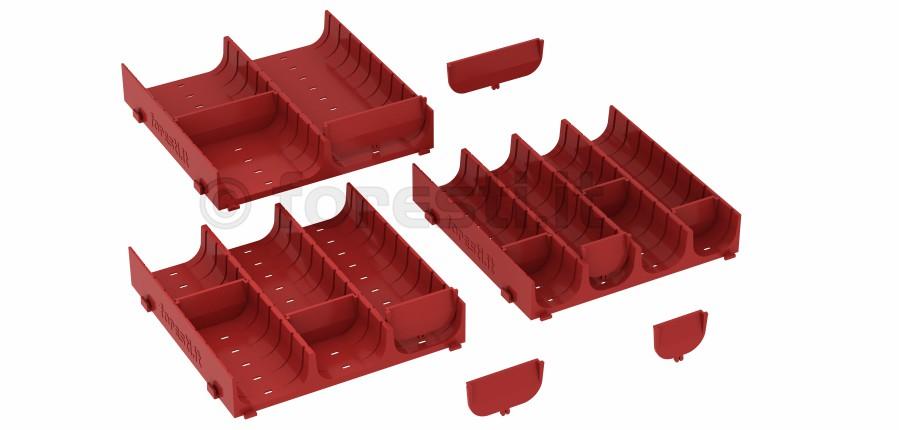 Conche componibili per cassetti con divisori separatori for Contenitori per esterni in plastica