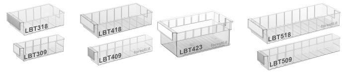 Contenitori in plastica trasparente per scaffali serie lbt for Contenitori in pvc per esterni